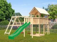 Akubi Spielturm Danny Satteldach + Rutsche grün + Doppelschaukelanbau Klettergerüst + Anbauplattform
