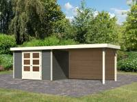 Karibu Woodfeeling Gartenhaus Askola 4 mit Anbaudach 2,8 m, Rückwand in terragrau