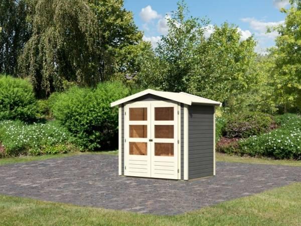Karibu Woodfeeling Gartenhaus Amberg 1 terragrau