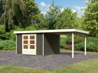 Karibu Woodfeeling Gartenhaus Askola 6 terragrau mit Anbaudach 2,8 Meter