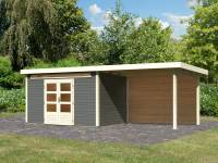 Karibu Woodfeeling Gartenhaus Kandern 7 in terragrau mit Anbaudach 3,20 Meter inkl. Rückwand