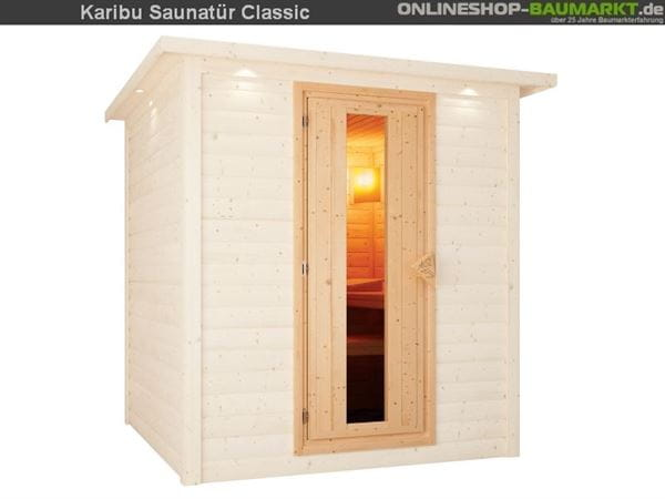 Karibu Saunatür Energiesparend gedämmt für 38 / 40 mm Wandstärke