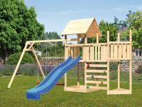 Akubi Spielturm Lotti Satteldach + Schiffsanbau oben + Anbauplattform + Doppelschaukel + Kletterwand + Rutsche in blau