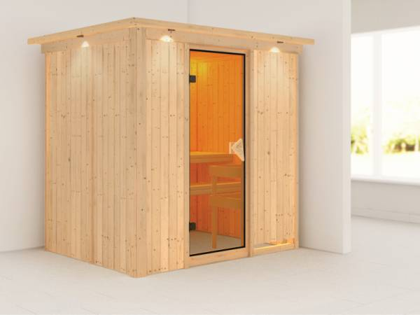 Bodin - Karibu Sauna ohne Ofen - mit Dachkranz -