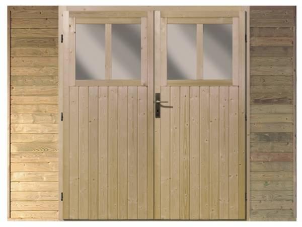 Karibu Frontwand mit Doppeltür für Einzelcarport