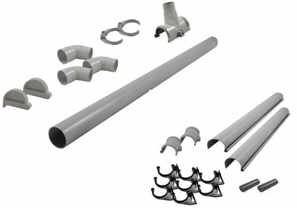 Karibu graue PVC-Dachrinne für Flachdach bis 555 cm