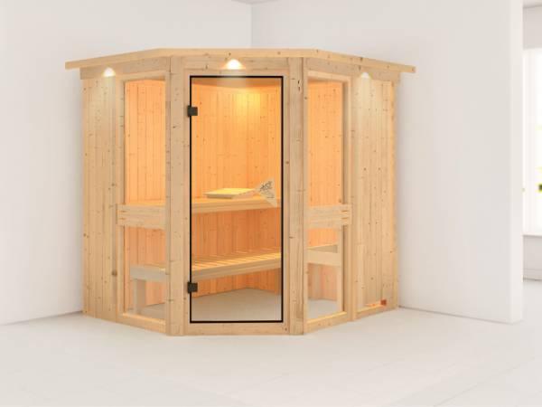 Amelia 1 - Karibu Sauna ohne Ofen - mit Dachkranz -