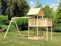 Akubi Spielturm Lotti natur mit Anbauplattform und Doppelschaukel