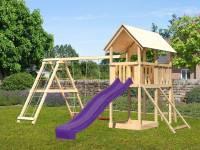 Akubi Spielturm Danny Satteldach + Rutsche violett + Doppelschaukelanbau Klettergerüst + Netzrampe