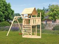 Akubi Spielturm Lotti Satteldach + Schiffsanbau oben + Einzelschaukel + Kletterwand
