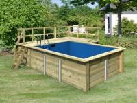 Karibu Rechteck Pool Größe 2 inkl. Terrasse 3,5 m und Seitenterrasse