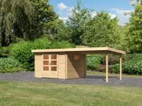 Karibu Gartenhaus Trittau 3 natur mit Anbaudach 3,3 m