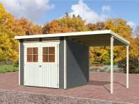 Karibu Gartenhaus Bremen 4 terragrau mit Anbaudach 1,90 Meter, Dacheindeckung und Fußboden