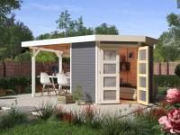 Karibu Gartenhaus Goldendorf 3 terragrau 19 mm mit Anbaudach 2,20 m, Seiten- und Rückwand