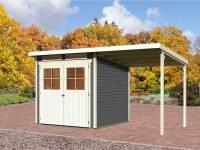 Karibu Gartenhaus Bremen 3 terragrau mit Anbaudach 1,9 Meter inkl. Fußboden und Dacheindeckung