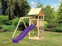 Akubi Spielturm Lotti mit Einzelschaukel, Kletterwand und Rutsche violett