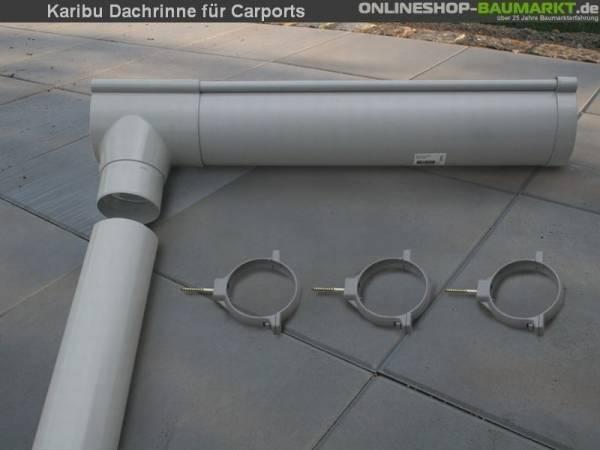 Karibu Dachrinnenpaket für Doppelcarport 6 Meter