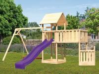 Akubi Spielturm Lotti + Schiffsanbau unten + Anbauplattform XL + Doppelschaukel + Rutsche violett