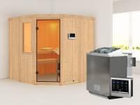 Simara 1 - Karibu Sauna inkl. 9-kW-Bioofen - mit Fenster -