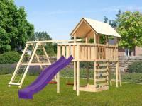 Akubi Spielturm Danny Satteldach + Rutsche violett + Doppelschaukelanbau Klettergerüst + Anbauplattform + Kletterwand