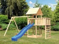Akubi Spielturm Lotti Satteldach + Rutsche blau + Doppelschaukel + Anbauplattform + Kletterwand
