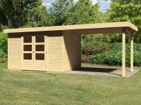 Karibu Woodfeeling Gartenhaus Askola 4 mit Anbaudach 2,75 Meter