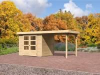 Karibu Gartenhaus Jever 3 mit Anbaudach 2,40 Meter inkl. Fußboden und Dacheindeckung