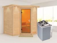 Sahib 1 - Karibu Sauna inkl. 9-kW-Ofen - mit Dachkranz -