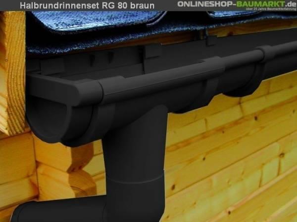 Dachrinnen Set RG 80 braun 600 cm Pultdach