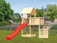 Akubi Spielturm Lotti + Schiffsanbau unten + Anbauplattform + Rutsche rot