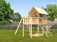 Akubi Spielturm Danny Satteldach + Einzelschaukel + Anbauplattform + Netzrampe