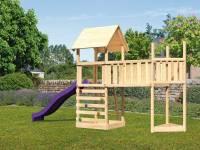 Akubi Spielturm Lotti Satteldach + Schiffsanbau oben + Anbauplattform XL + Kletterwand + Rutsche in violett