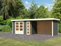 Karibu Woodfeeling Gartenhaus Kerko 4 in terragrau mit Anbaudach 2,80 m und Rück-und Seitenwand