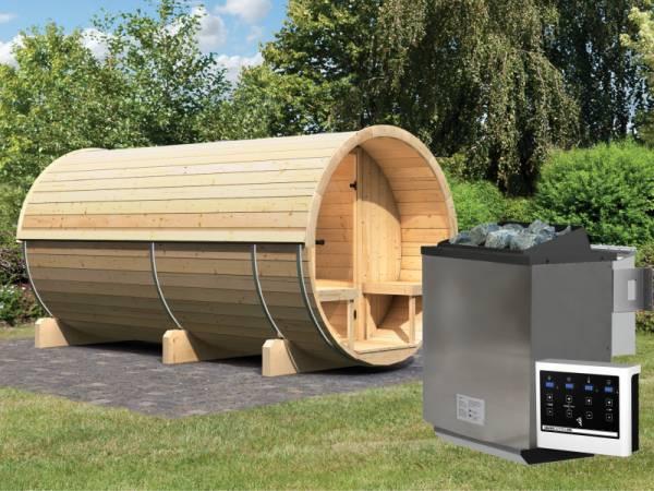 Karibu Fass - Sauna 4 42 mm inkl. 9-kW-Bioofen - Saunahaus