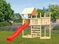 Akubi Spielturm Lotti Satteldach + Schiffsanbau oben + Anbauplattform + Kletterwand + Rutsche in rot