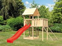 Akubi Spielturm Lotti natur mit Anbauplattform, Netzrampe und Rutsche rot