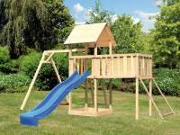 Akubi Spielturm Lotti Satteldach + Rutsche blau + Einzelschaukel + Anbauplattform XL + Netzrampe