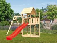 Akubi Spielturm Lotti Satteldach + Schiffsanbau oben + Einzelschaukel + Netzrampe + Rutsche in rot