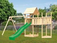 Akubi Spielturm Lotti Satteldach + Schiffsanbau oben + Anbauplattform + Doppelschaukel + Rutsche in grün