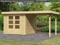 Karibu Woodfeeling Gartenhaus Askola 3 mit Anbaudach 2,25 Meter