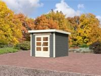 Karibu Aktions Gartenhaus Emden 3 in terragrau mit Fußboden