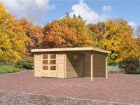 Karibu Aktions Gartenhaus Rastede 3 mit Fußboden und Anbaudach 2,2 m inkl. Rückwand