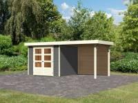 Karibu Woodfeeling Gartenhaus Askola 3,5 mit Anbaudach 2,4 m, Rückwand, terragrau