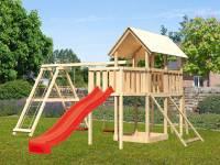 Akubi Spielturm Danny Satteldach + Rutsche rot + Doppelschaukelanbau Klettergerüst + Anbauplattform + Netzrampe