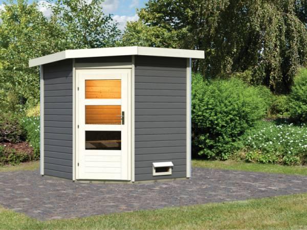 Karibu Saunahaus Pekka 38 mm- ohne Ofen- moderne Tür-terragrau