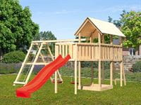 Akubi Spielturm Danny Satteldach + Rutsche rot + Doppelschaukelanbau Klettergerüst + Anbauplattform XL