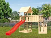 Akubi Spielturm Lotti + Schiffsanbau unten + Anbauplattform XL + Kletterwand + Rutsche rot