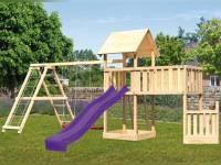 Akubi Spielturm Lotti + Schiffsanbau unten + Anbauplattform XL + Doppelschaukel mit Klettergerüst + Rutsche violett