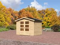 Karibu Aktions Gartenhaus Oldenburg 3 mit Fußboden und Dacheindeckung
