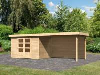 Karibu Woodfeeling Gartenhaus Askola 4 mit Anbaudach 2,8 m, Rückwand